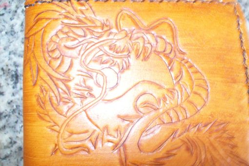 Custom Made Custom Leather Maverick Wallet With Full Dragon Design In Chestnut Stain