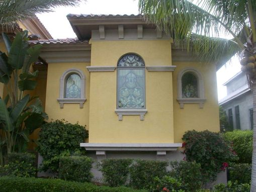 Custom Made Custom Home In Naples, Florida With Stained Glass Window Treatments Throughout, Adding Beauty And Privacy For It's Owners