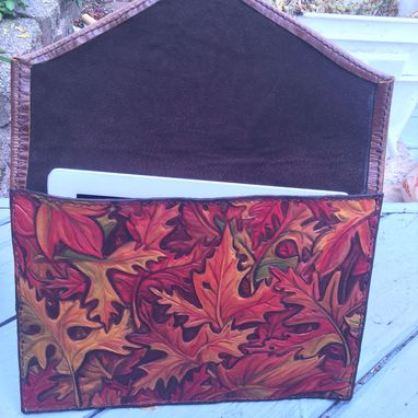 Custom Made Leather Fall Leaves Envelope Clutch