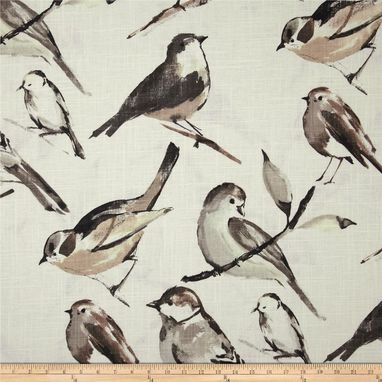 "Custom Made Richloom Birdwatcher In Khaki Linen Citrine Tan Beige Bird Aviary 96""L X 50""W"