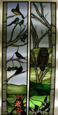Custom Made Painted Owl Window Panel
