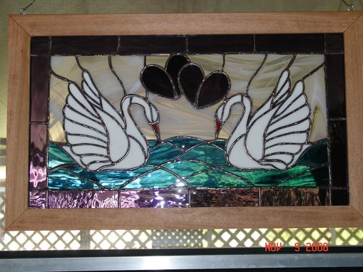 Custom Made Stained Glass Facing Swans