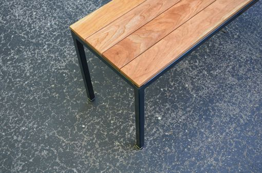 Custom Made Cherry Bench With Blue Steel