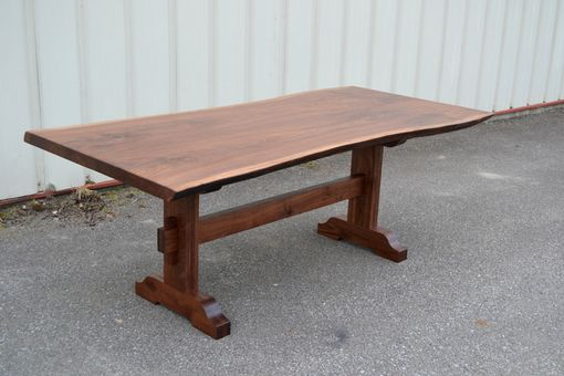 Custom Made Live Edge Walnut Dining Table With Trestle Base