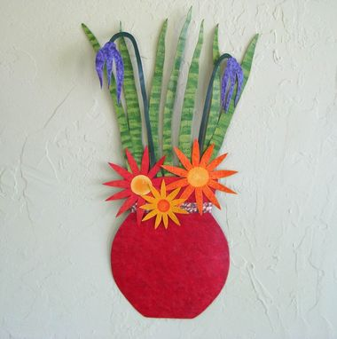 Custom Made Handmade Upcycled Metal Flower Vase Wall Art Sculpture In Red Orange