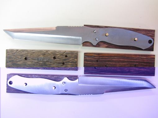 Custom Made Custom Knife - Tanto Style - Stainless Steel Blade - Handmade Cocobolo Wood Handle
