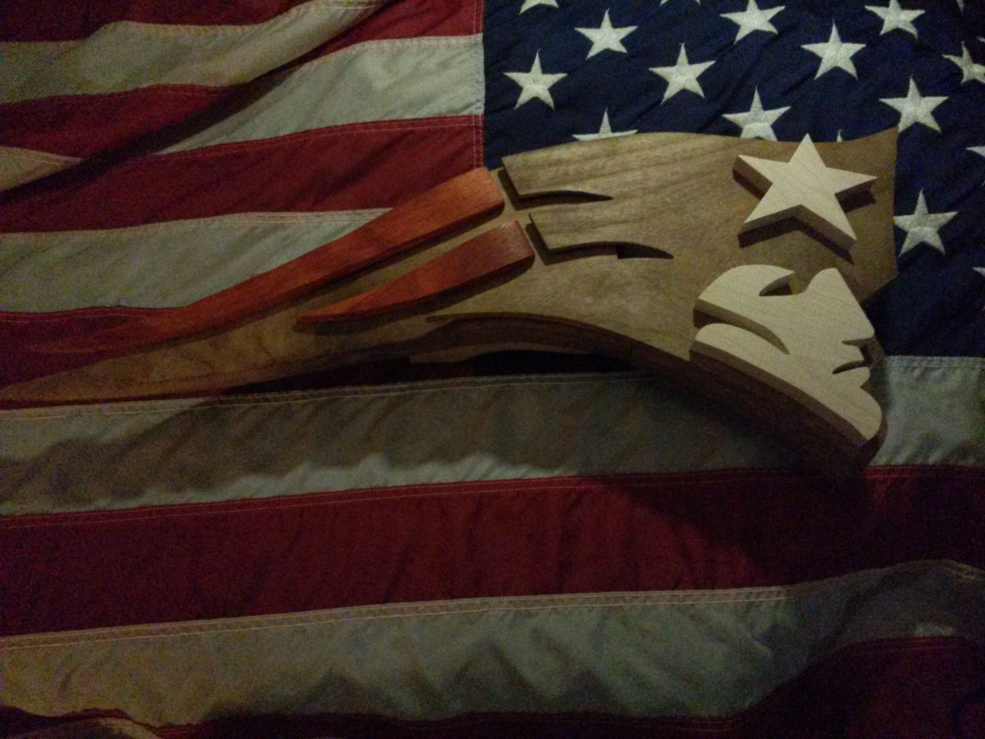 Hand Made Wood New England Patriot Logo Art By Derek