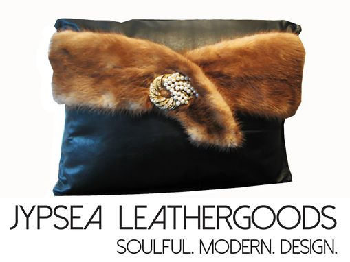 Custom Made Upcycled Black Leather And Mink Fur Throw Pillow