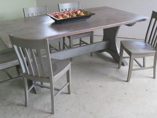 Custom Made Pine Trestle Base Dining Table With Drift Wood Finish