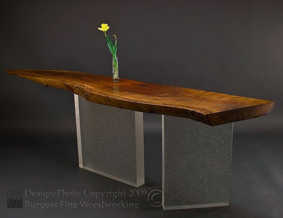 Hand Crafted Claro Walnut Sofa Table With Glass Legs By Burgess