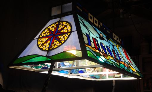 Custom Made Pool Table Or Island Leaded Glass Chandelier
