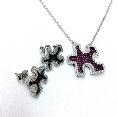 Custom Made Autism Awareness Puzzle Design Necklace And Pendant And Matching Earring