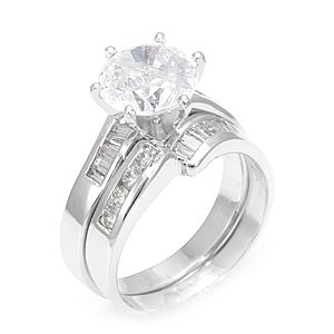 Custom Made Round, Baguette Diamond Ring And Matching Band In 14k White Gold, Diamond Wedding Set/Rings