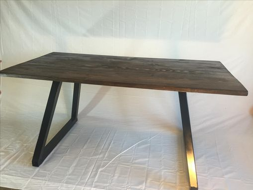 Custom Made Modern Office Desk Wood Top With Metal Base.
