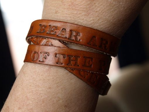 Custom Made 2nd Amendment Leather Wrap Bracelet