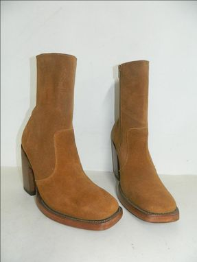 Custom Made Made To Order Square Toe Boots Wiht Side Zipper And Double Thick Leather Soles