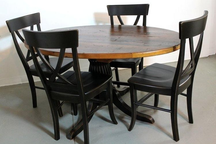 custom 50 round farm style dining table from old pine by ecustomfinishes reclaimed wood furniture custommadecom - Black Kitchen Tables
