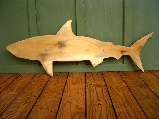 Hand Crafted Shark Silhouette Wood Sculpture By Sleepy