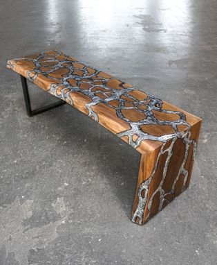 Custom Made Fractal River Waterfall Bench