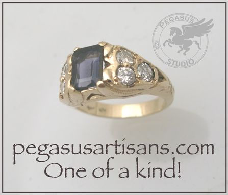 Custom Made Iolite And Diamond Ring