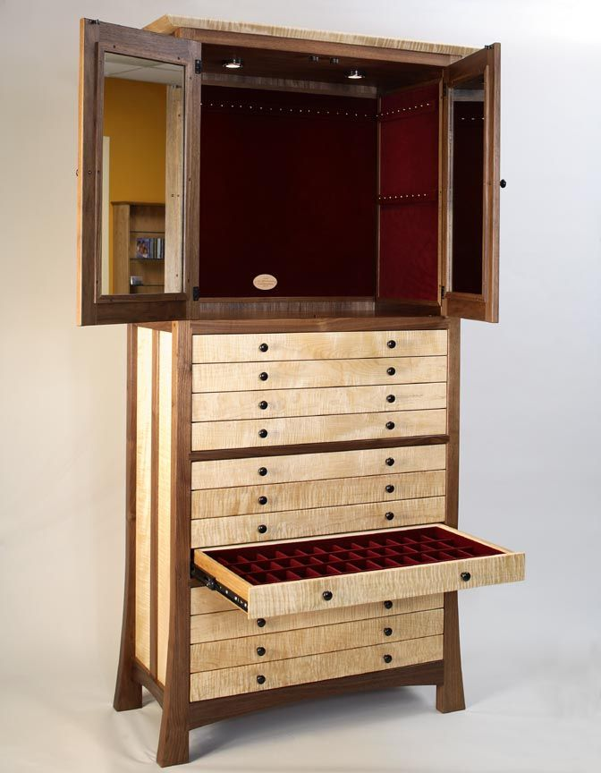 Walnut And Curly Maple Jewelry Cabinet from www.custommade.com