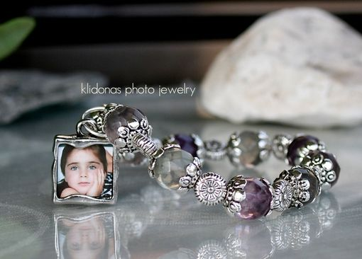 Custom Made Double-Sided Photo Charm Bracelet With Rainbow Fluorite Beads