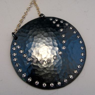 Custom Made Sterling Silver Eclipse Moon Pendant Oxidized With Cubic Zirconias And Silver Chain