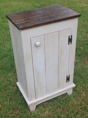 Custom Made Cabinet W/ Reclaimed Wood Top & Antique Glaze