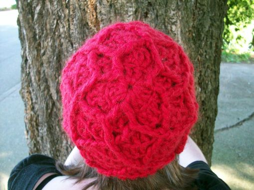Custom Made Cheery Red Wool Beanie With Textured Design
