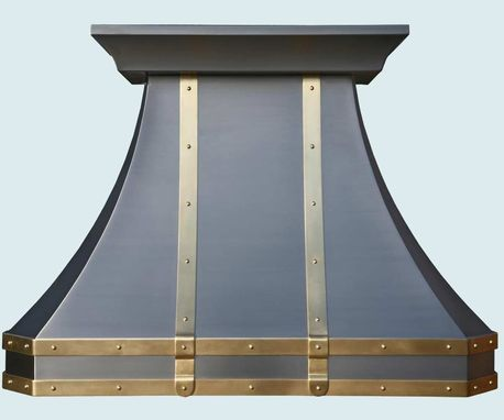 Custom Made Stainless Range Hood Brass Straps & Rivets
