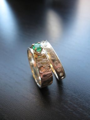 Custom Made Sterling Silver Hammered Texture Heidi Ring With Emerald And Girlfriend Ring Wedding Set