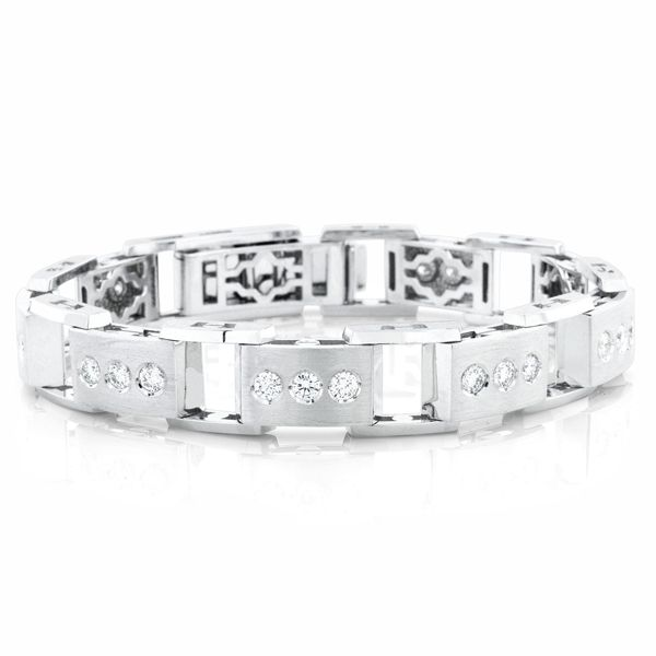 Buy a Hand Made Mens Three Diamond Bezel Set Linked Bracelet made