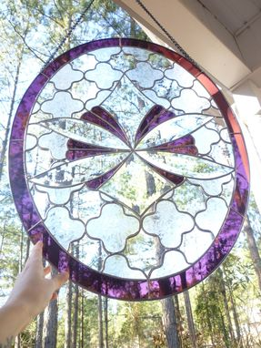 Custom Made Oval Panel With Textured Glass And Bevels