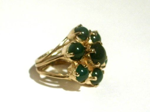 Custom Made Sterling Silver And 18 Kt Gold Vermeil Flower Cocktail Ring With Green Onyx Cabochons