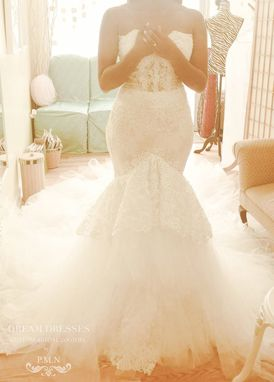 Custom Made Gorgeous Strapless Trumpet Wedding Gown With Four Layer Extended Long Train