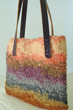 "Custom Made Stunning ""Summer Storm"" Colored Felted Wool Tote With Purple Leather Handles"
