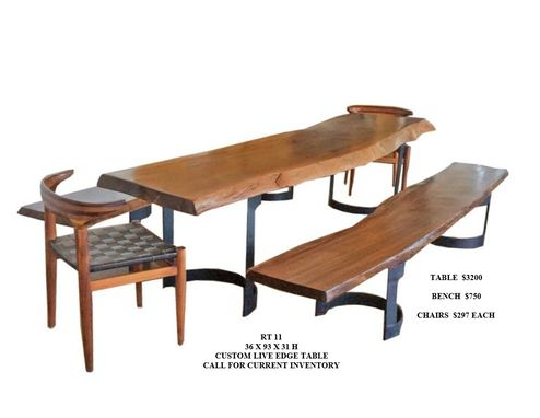 Custom Made Live Edge Dining Table, Bench And Chair