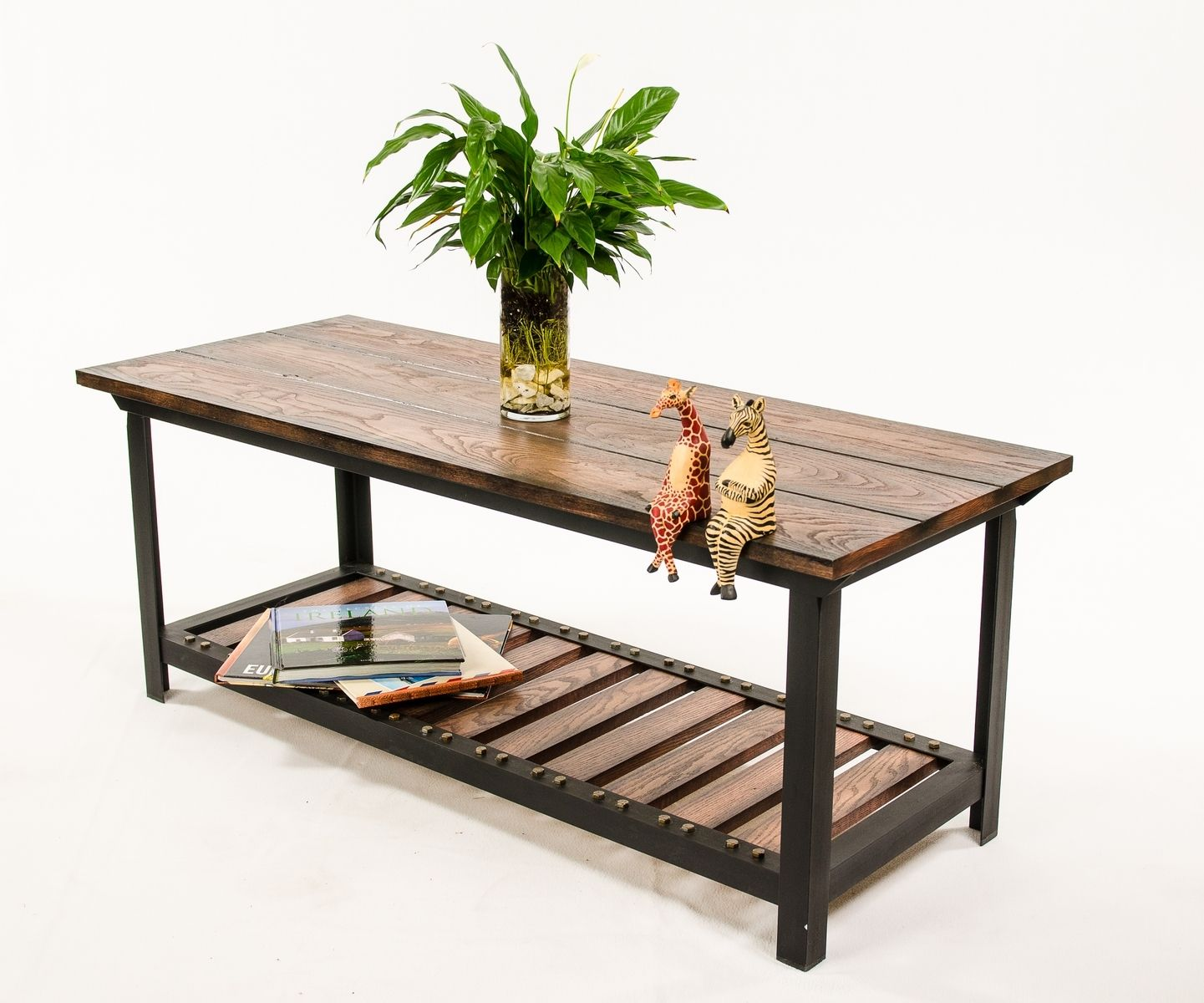 Custom Made Vintage Industrial Style Coffee Table By Against The Grain