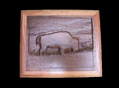 "Custom Made 3d Wall Art ""Buffalo Carving"""