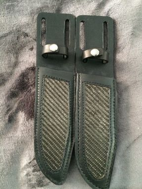 Custom Made Leather Bowie Knife Sheaths With Carbon Fiber Or Exotic Inlay