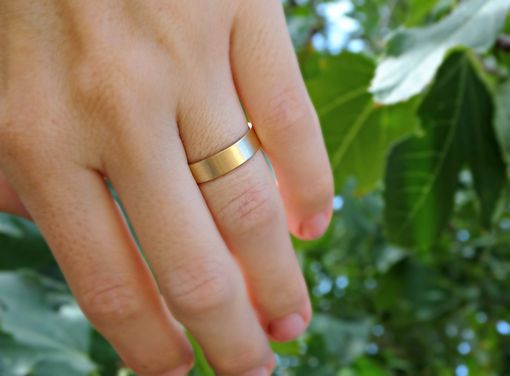 Solid 14k Gold Mens Wedding Ring Flat Band Minimalist Unisex