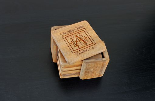 Custom Made Custom Bamboo Coasters, Custom Engraved Coasters --Cst-Bam-Alloy