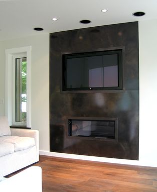 Custom Made Patinated Steel T.V. And Fireplace Surround
