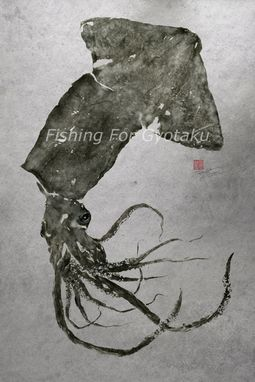 Custom Made Giant Squid (Humboldt Squid) Gyotaku Print - Traditional Japanese Fish Art