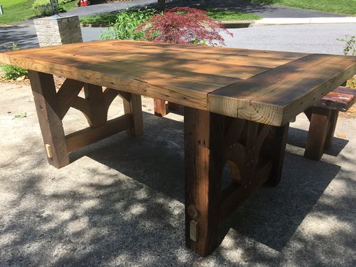 Custom Made Reclaimed Heart Pine Farmhouse Dining Table