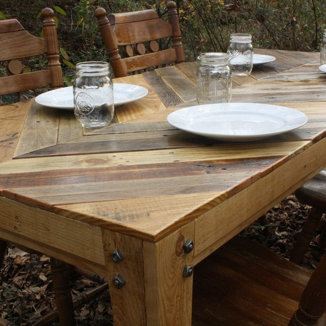 Easy Garden Furniture To Make custom gathering table (chevron style) pallet wood tablelittle