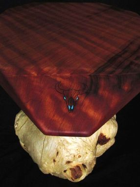 Custom Made Custom Redwood Table With Turquoise Inlay