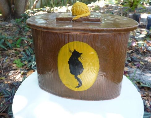 Custom Made Cat Urn With A Wood Grain