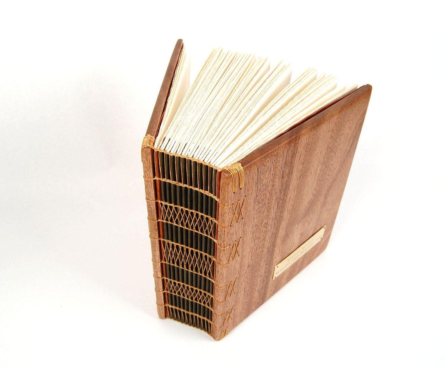 Hand made large mahogany photo album scrapbook handmade wood book heirloom - Customiser album photo ...