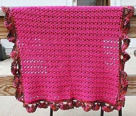 Hand Made Pink Crochet Baby Blanket Shell Border Warm Hot Pink By